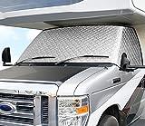 ELUTO RV Windshield Cover Class C Ford 1997-2019 RV Front Window Cover RV Motorhome Windshield Cover with Mirror Cutouts