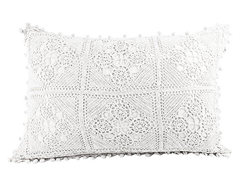Fennco Styles Handmade Floral Crochet Lace Decorative Throw Pillow with Pompom Border 20