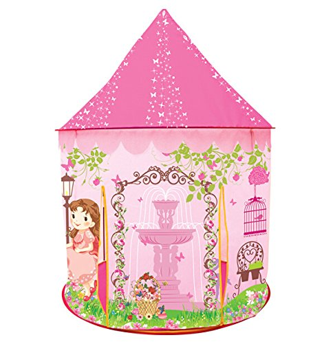 Princess Castle Play Tent for Kids, Princess Castle Dollhouse that conveniently folds in to a Carrying Case, Perfect Foldable Pop Up pink Childrens play tent/house toy for Indoor & Outdoor Use Dollhouse Toy Box