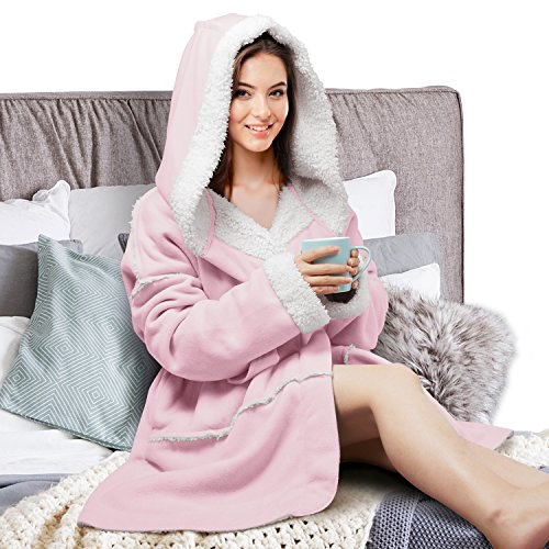 Adult Bath Wrap (Women's Hooded Robes Soft Warm Short Plush Fleece Bathrobe Sherpa Lined Dressing Gown Pink)