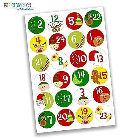 Creare Calendario Avvento.Papierdrachen 24 Adesivi Con Numeri Per Il Calendario Dell Avvento Motivi Colorati N 1 Adesivi Per Creare E Decorare