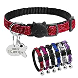 """Didog Bling Bling Breakaway Kitten Collar with Engraved Fish Shaped ID Tag for Christmas Festival (S:7-10.5"""", Red)"""