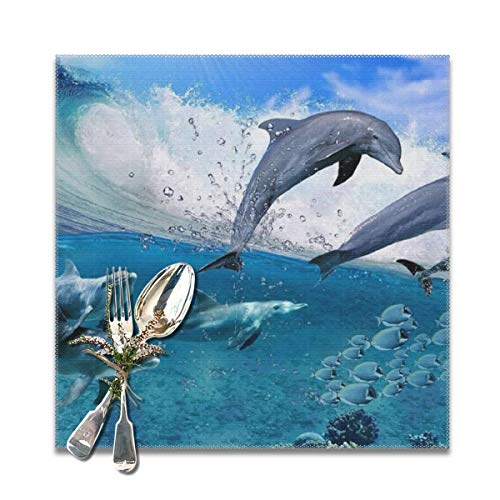 BUN Placemats Square Set of 6 for Dining Room Kitchen Table Decor, Dolphins Play Game Print Table Mats Washable