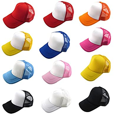 Baseball Hat,Haoricu 2017 Summer 12 Color Unisex Casual Hat Solid Baseball Cap Trucker Mesh Adjustable Hat