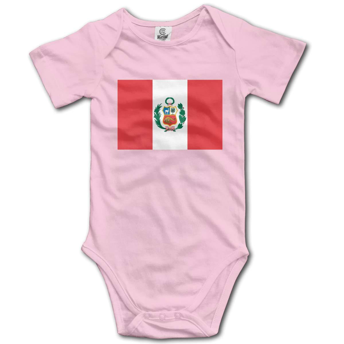 CUTEDWARF Baby Short-Sleeve Onesies Peru Flag Bodysuit Baby Outfits