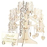 Yeefant 3D Wedding Guestbook Tree Visit Sign Guestbook Wooden Hearts Pendant Drop Decor,Size of the Tree 1.02x1.12x0.01 Ft,Caring Size 0.12x0.12x0.01 Ft,Plate Size 0.59x0.38x0.01 Ft