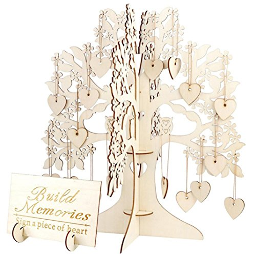 Price comparison product image Yeefant 3D Wedding Guestbook Tree Visit Sign Guestbook Wooden Hearts Pendant Drop Decor, Size of the Tree 1.02x1.12x0.01 Ft, Caring Size 0.12x0.12x0.01 Ft, Plate Size 0.59x0.38x0.01 Ft