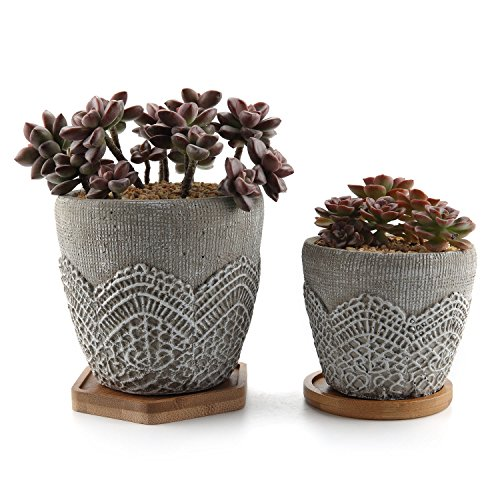 Medium Planter - T4U Cement Lace Pattern Succulent Plant Pot/Cactus Plant Pot Container Planter Classic Design Collection with Bamboo Tray - Pack of 2