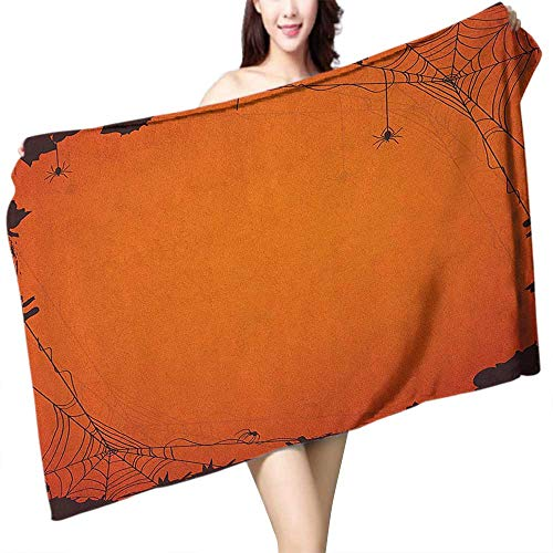 Beach Towel Spider Web Grunge Halloween Composition Scary Framework with Insects Abstract Cobweb W20 xL39 Suitable for bathrooms, Beaches, -