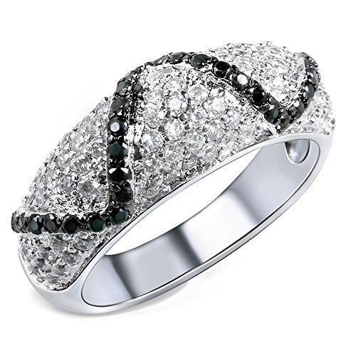 Tiffany Bangle Ring - GDSTAR rings for women Bangle Ring White gold plated Cubic zirconia black and white CZ Rings jewelry 9.0