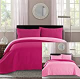 New Full / Queen Bed Luxury 3-piece Hot Pink / Light Pink Reversible Bedspread Coverlet set Solid Embossed Bedding set