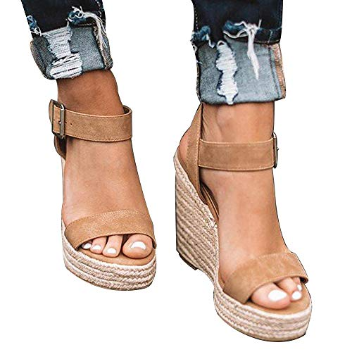 (XMWEALTHY Women's Wedge Sandals Casual Sandals Shoes Summer Ankle Buckle Open Toe Platform Wedges Heels Size 9.5 Khaki)