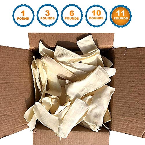 123 Treats - Rawhide Chips for Dogs (11 Pounds) Quality Bulk Dog Rawhide Chews - No Additives, Chemicals or Hormones from Natural Grass Fed - 11 Retriever Rawhide Rolls