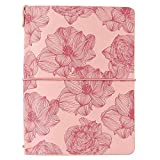 Erin Condren On The Go Folio - Pink Sketched Blooms, Small Size Holder Case to Protect Your Petite Planners and Petite Journals for Travel. Stylish and Easy Elastic Band Enclosure