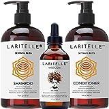 Laritelle Organic Hair Growth Set | Shampoo 16 oz + Conditioner 16 oz + Hair Loss Treatment 4 oz | Argan Oil, Rosemary, Palmarosa & Orange | NO GMO, Sulfates, Gluten, Alcohol, Parabens, Phthalates