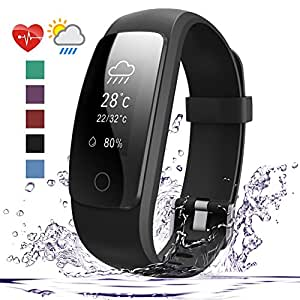 Fitness Tracker HR, 007plus D107Plus Heart Rate Monitor Fitness Smart Watch Activity Tracker with Sleep Monitor Pedometer Smart Wristband for Android and IOS Smart Phone (Black)