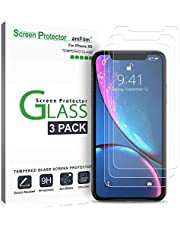 amFilm Screen Protector for iPhone XR, Tempered Glass Screen Protector with Easy Installation Tray for Apple iPhone XR (3 Pack)