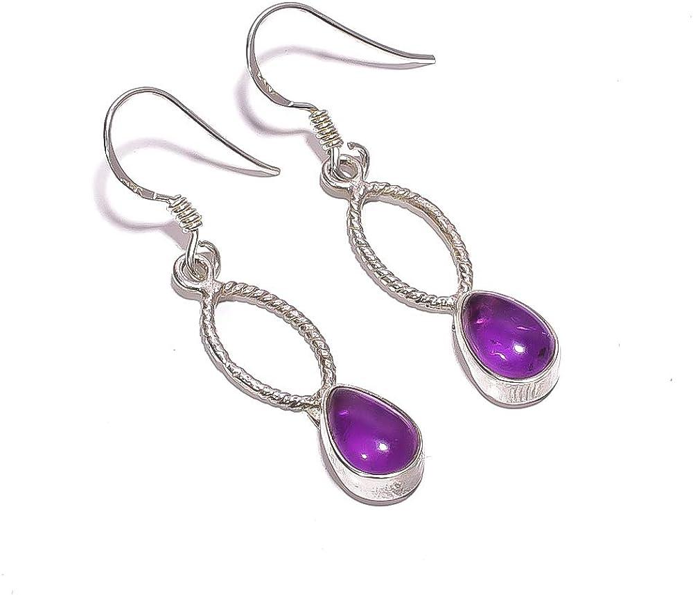 Mughal Gems & Jewellery - Pendientes de Plata de Ley 925 con Piedras Preciosas de Amatista Natural para Mujer