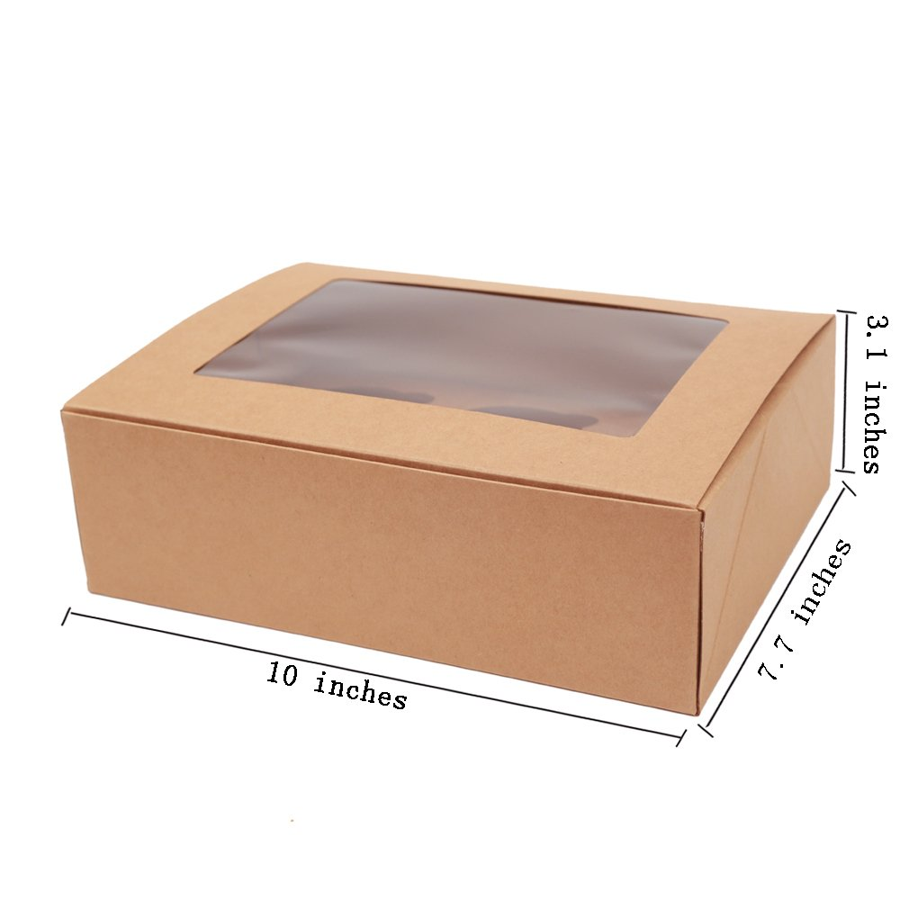 ezek Kraft paper, Professional Bakery Boxes, Cookies, Cupcake, Muffin Containers Carriers with Display Windows and insert.6 holders,Quick assembly without glue. Sets of 4.