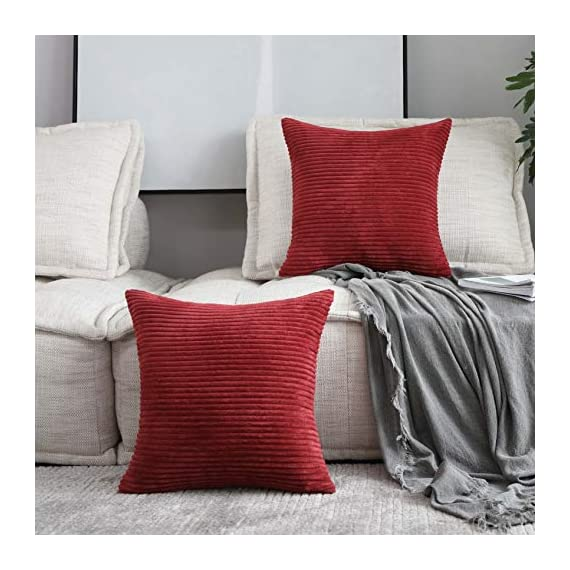 Home Brilliant 2 Packs Decorative Square Pillows Cover Outdoor Throw Pillows Cushion Covers for Chair, 16 x 16 inches, 40cm, Dark Red - FEATURES: Color: Burgundy. Measures: 16x16 inch (40x40cm), tailored for 16x16 inch insert. PACKAGE: include 2 pc cushion cover. No cushion insert. WASHING GUIDE: Machine Wash Cold Separately, Gently Cycle Only, No Bleach, Tumble Dry Low. - patio, outdoor-throw-pillows, outdoor-decor - 51HzUhOpa3L. SS570  -