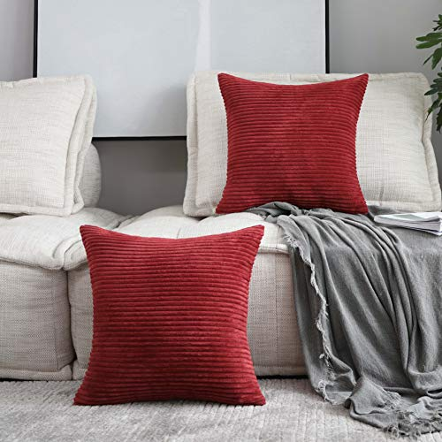 Home Brilliant Decor Super Soft Plush Corduroy Striped Throw Pillow Cushion Covers for Sofa Couch Bed, Set of 2, 18 x 18 Inch (45x45), Dark Red (Sofa Maroon Set)