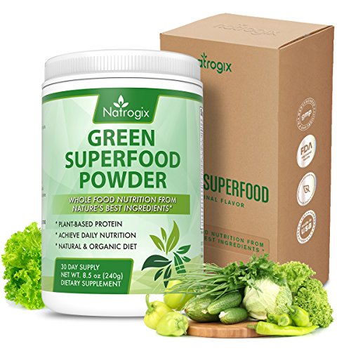 Green Superfood Powder by Natrogix - 32 Organic Real Food Ingredients - Spirulina, Acai, Spinach + More - Organic Probiotics and Enzymes for Superior Digestion and Health.8.5 oz 30 Day, Upgraded Taste