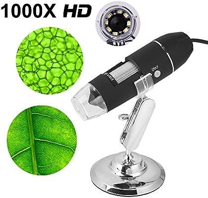 Mbuynow Microscopio Digital USB 1000 x Ampliación para Windows PC 8-LED Luce intensidad ajustable Microscopio digital HD de grabación de vídeo, toma ...