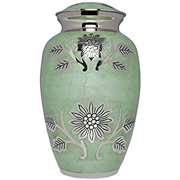 Liliane Memorials Teal Funeral Cremation Urn with Silver Rose Flower Lisette Model in Brass for Human Ashes Suitable for Cemetery Burial Fits Remains of Adults up to 200 lbs, Large 200 lb, Blue