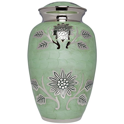Liliane Memorials Teal Funeral Cremation Urn with Silver Rose Flower Lisette Model in Brass for Human Ashes; Suitable for Cemetery Burial; Fits Remains of Adults up to 200 lbs, Large/200 lb, Blue ()
