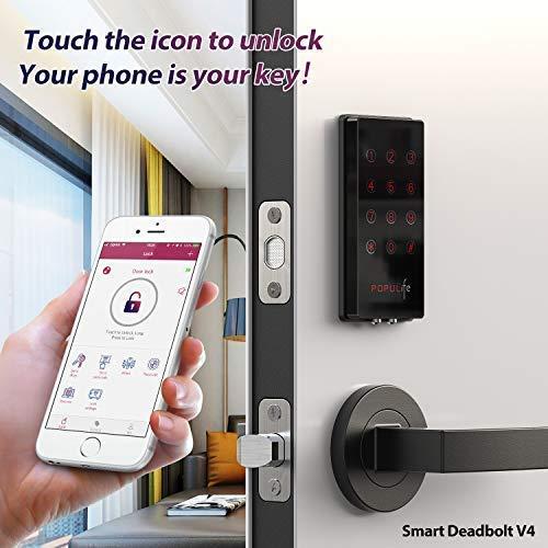 PopuLife Smart Lock Door, Keyless Smart Lock App Enable Pin Code Unlocking, Bluetooth Deadbolt, Auto-Lock Feature, Only Compatible with Wooden Door, Left Door, Right Door by PopuLife (Image #2)