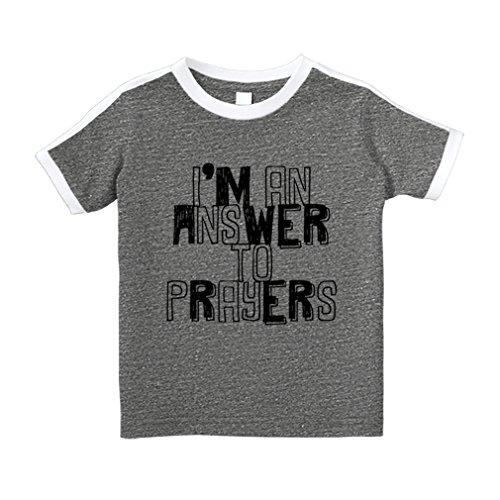 Cute Rascals I'm An Answer To Prayers Cotton Short Sleeve Crewneck Unisex Toddler T-Shirt Soccer Tee - Granite Heather, (Answer Short Sleeve T-shirt)