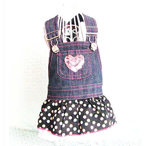 Joopet Pet Dog Jeans Dress Sweet Heart Sequins Denim Dog Dresses for Dog Shirt Fashion Dog Clothes Pet Dress (M)