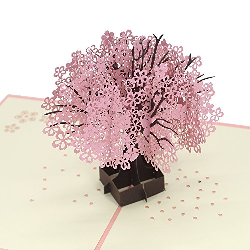 - Cute Star Cherry Tree 3D Pop Up Greeting Cards with Envelope, Gift for Mother's Day Children's Day Birthday Best Wish Good Luck Wedding Invitation Congratulation (Blossom)