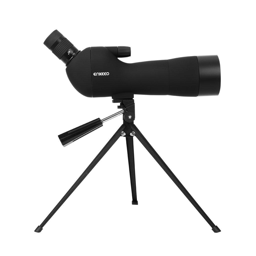 ENKEEO Waterproof Spotting Scope 20-60X60AE with Tripod, 45-Degree Angled Eyepiece, Optics Zoom 41-21m (134-69ft) / 1000m - Black by ENKEEO