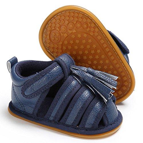 Juleya Las sandalias de las borlas de las muchachas de los bebés del bebé recién nacido anti-deslizan los primeros zapatos que caminan Black 12-18M azul