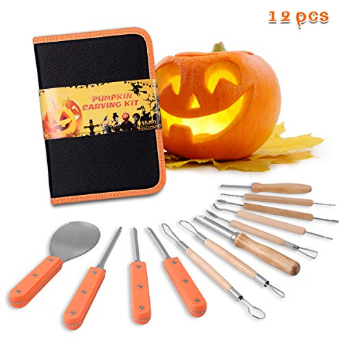 Kearui Pumpkin Carving Kit, Includes 12 Pcs Stainless Steel As a Carving Set for Pumpkin Halloween Decoration Easily Sculpting Jack-O-Lanter Pumpkin Decorating Kits