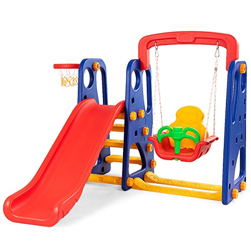 - Costzon Toddler Climber and Swing Set, 3 in 1 Climber Slide Playset w/Basketball Hoop, Easy Climb Stairs, Kids Playset for Both Indoors & Backyard