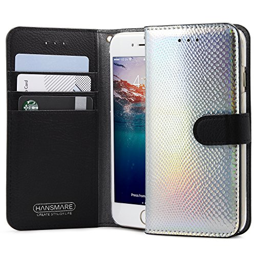 Iphone8 Iphone7 Case  Hansmare Wallet Case With Id Credit Card Slots For Iphone  Premium Leather Flip Cover Wallet Case Book Design With Stand And Magnetic Closure  Apple Iphone 7 8   Siver Hologram