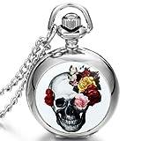 JewelryWe Gothic Devil Retro Flower Skull Necklace Quartz Pocket Watch Halloween Cosplay Gift