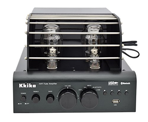 Kkika Hybrid Tube Amplifier Black HI-FI Stereo Amplifier 38W2 Vaccum Tube AMP Support Bluetooth/USB/CD/DVD