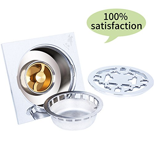 Floor Drain for Shower/Bath/Kitchen/Balcony/Washroom/Garage/Basement, Tile Insert with Removable Ground Drainer Strainer Grate Cover, Anti-Odor/Overflow/Pest/Clogging, Solid Copper (geometry)