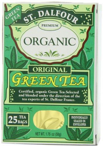 ST. DALFOUR Organic Green Tea, Tea Bags, Original, 1.75 Ounce Bag, 25 Count Box