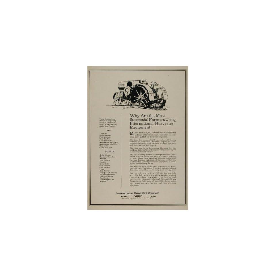 1922 Ad International Harvester Tractor Antique Titan   Original Print Ad