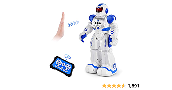 RC Robot for Kids, Intelligent Toy Robots with Infrared Gesture,Singing Dancing Programmable Robot Remote Control by Girl Christmas Birthday Boy Gift Age 3-8(Blue)