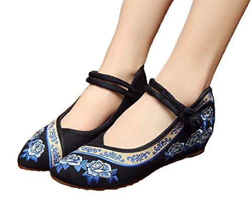 Zapatos De Cuña Para Mujer Avacostume Rose Bordado Point Toe Para Qipao Dress Black