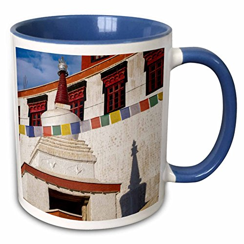 (3dRose Danita Delimont - Ellen Clark - Temples - Jammu and Kashmir, Ladakh, Leh, Thiksey Monastery. - 15oz Two-Tone Blue Mug (mug_188113_11))