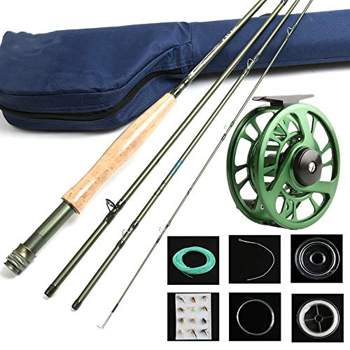 Maxcatch Fly Fishing Set 9' Carbon 4 Section Fishing Rod Bag Cork Straight Shank Aluminum 5wt Reel Lake Fishing Stream Rod, Storage 28