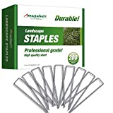 Amagabeli 6 Inch Galvanized Landscape Staples 200 Pack 11 Gauge Garden Stakes Heavy-Duty Sod Pins Anti-Rust Fence Stakes for Weed Barrier Fabric Ground Cover Dripper Irrigation Tubing Soaker Hose