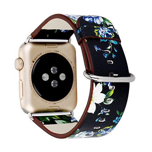 YAKU New Arrival Floral Soft PU Leather 38mm Apple Watch Band, MagicFeel Replacement Strap Wrist Band Bracelet for Apple Watch Series 1 Series 2, Sport, Edition (Black Girl Bands)