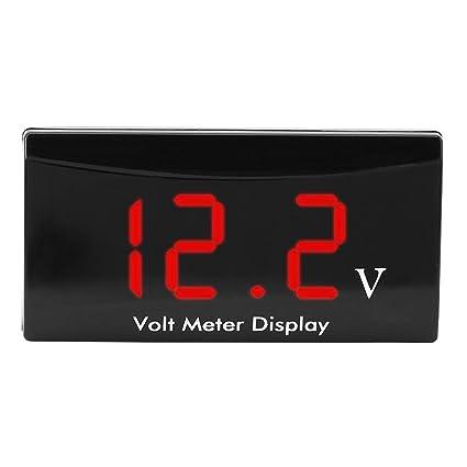 DC Voltage Meter Voltmeter for Car Motorcycle Vehicle Automotive Blue//Red LED Digital Voltage Display 12V Digital Volt Gauge Digital Voltage Panel Meter Blue